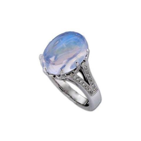 Blue Moonstone and Diamond Crown Ring