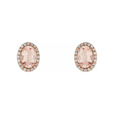Oval Morganite Stud Earrings in Rose Gold - Silverscape Designs