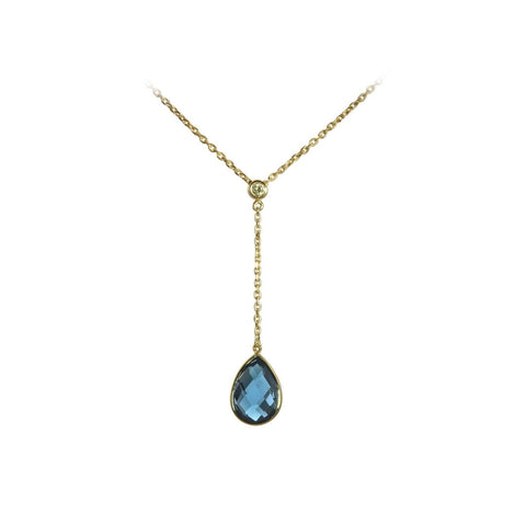 Blue Topaz Tear Drop Dangle Necklace in Gold - Silverscape Designs