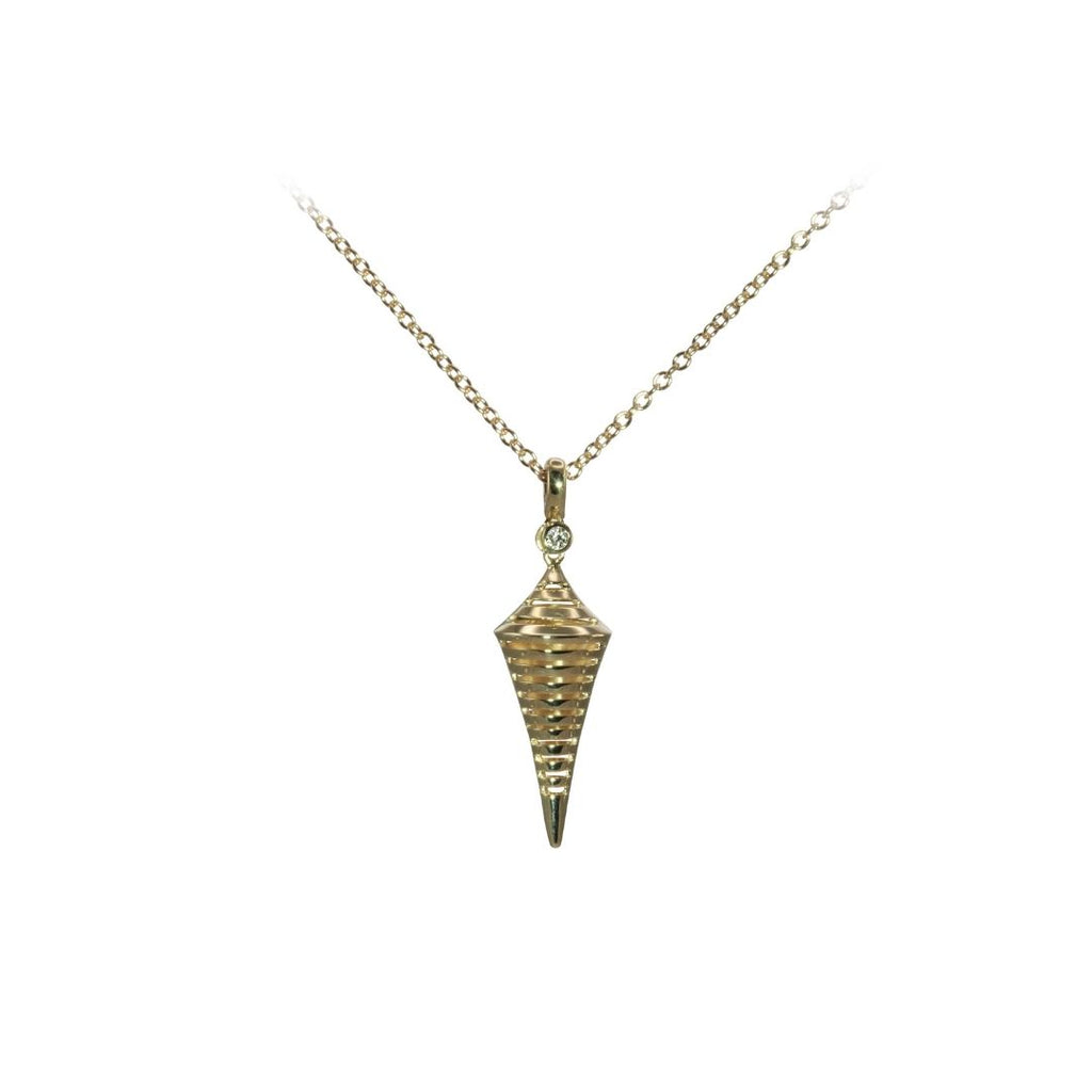 3D Cone Pendant in Yellow Gold - Silverscape Designs
