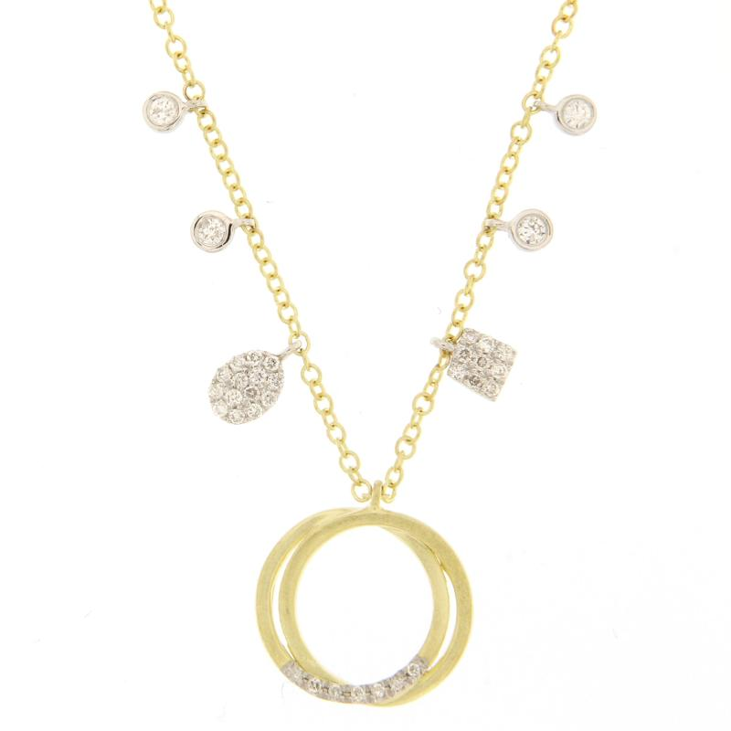 Meira T Designs Gold & Diamond Double Hoop Necklace