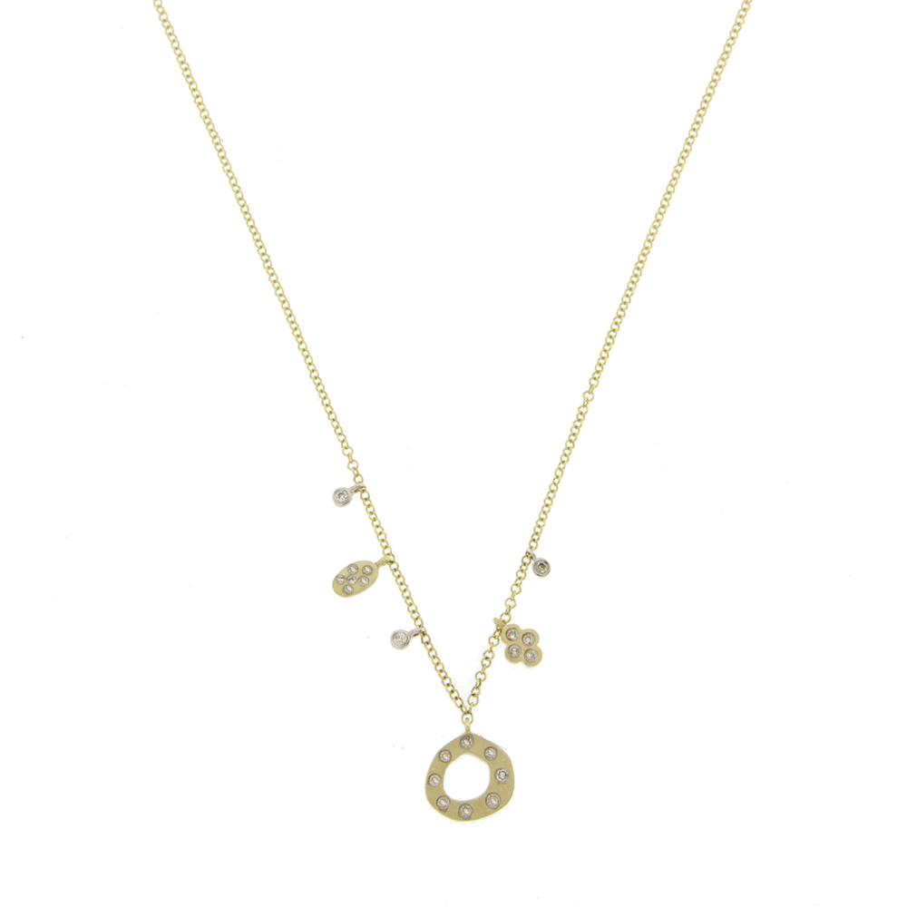 Meira T Designs Yellow Gold Diamond Asymmetrical Necklace