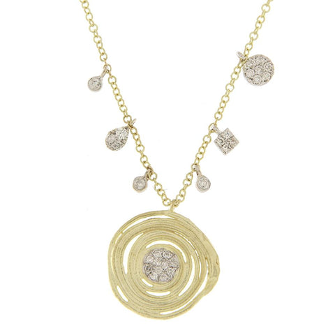 Meira T Designs Gold & diamond circle necklace