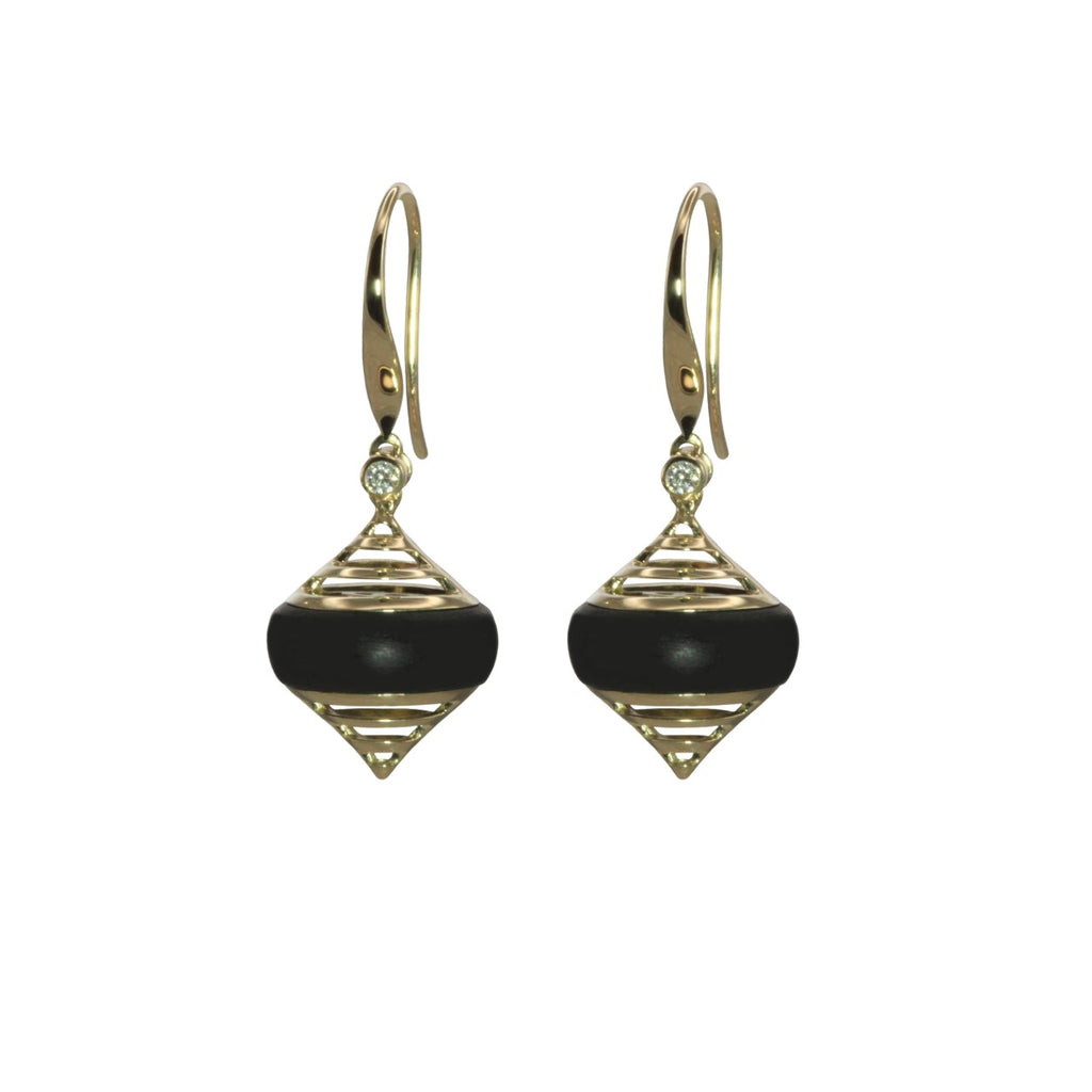 Matte Onyx Earrings with Diamond and Yellow Gold Accents - Silverscape Designs