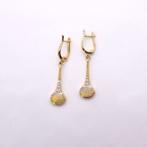 Oval Opal and Diamond Dangle Earrings in Yellow Gold - Silverscape Designs