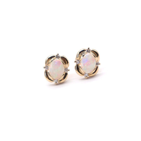 Large Oval Opal studs with Diamond Accents in Yellow Gold - Silverscape Designs