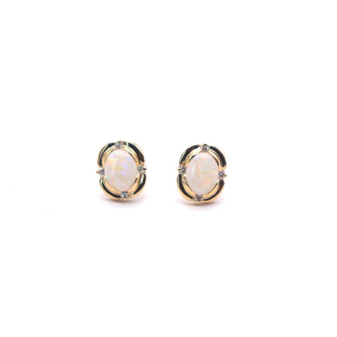 Oval Opal studs with Diamond Accents in Yellow Gold - Silverscape Designs
