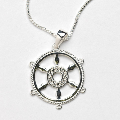 Southern Gates Ship Wheel Necklace - Silverscape Designs