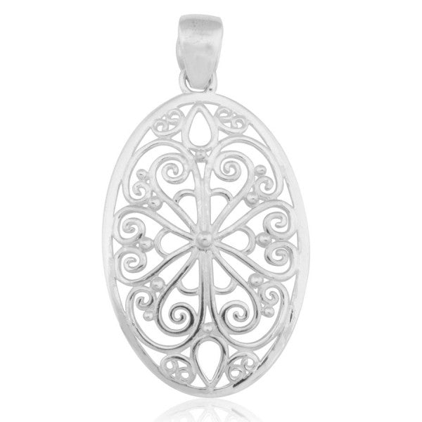 Southern Gates Oval Flower Filigree Pendant - Silverscape Designs