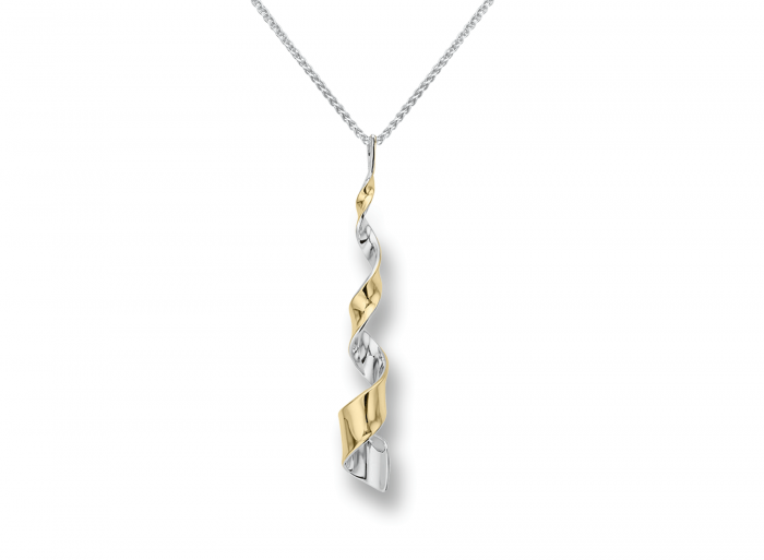 Ed Levin Sterling Silver and 14karat Yellow Gold Twist Pendant