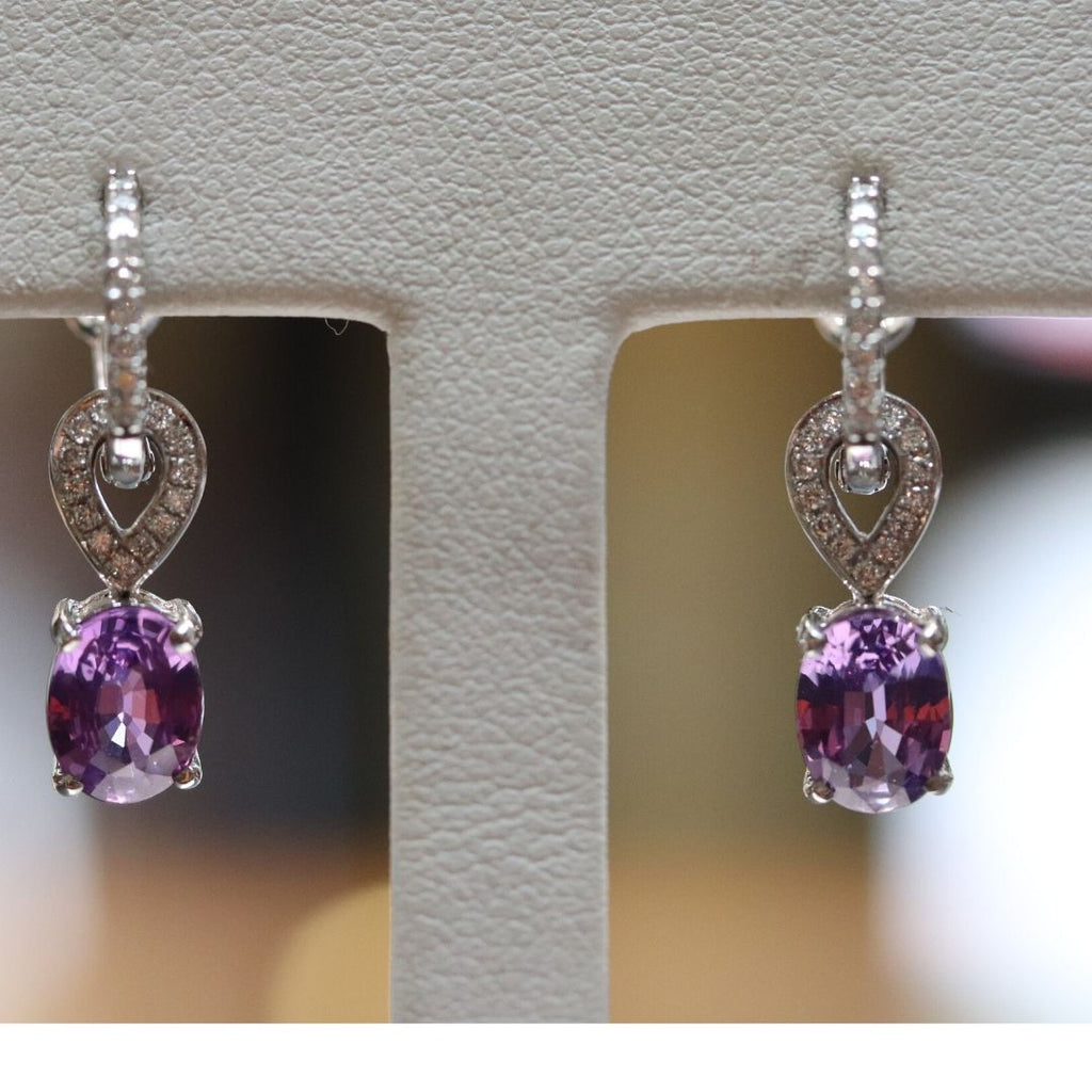 Purple Sapphire Drop  Earrings with Diamond Accents in White Gold - Silverscape Designs