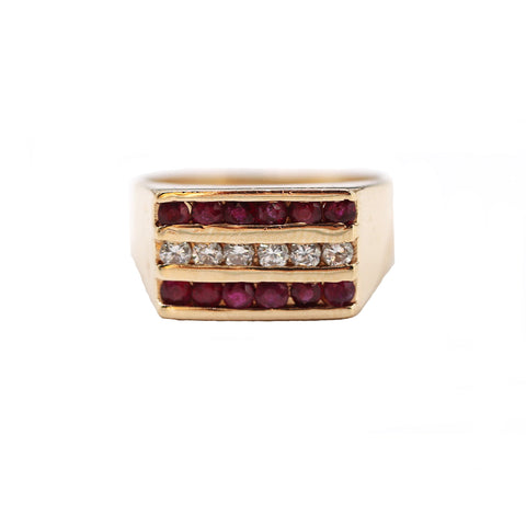 Estate Ruby & Diamond Band Style Ring, Channel Set Gemstone Ring 14K Yellow Gold