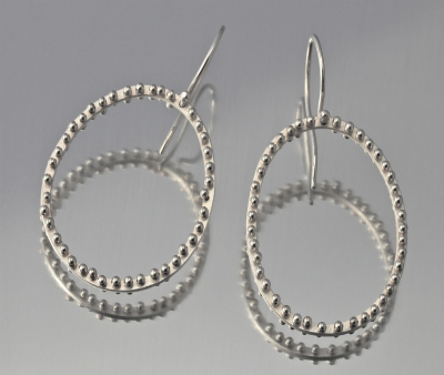 Sterling Silver Large Bone Circle Earrings