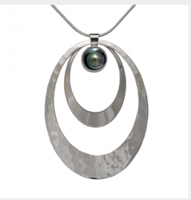 Ed Levin Sterling Silver Saturn with Black Pearl Pendant