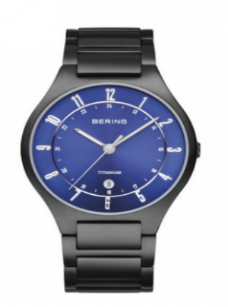 Men's Titanium Black & Blue Watch