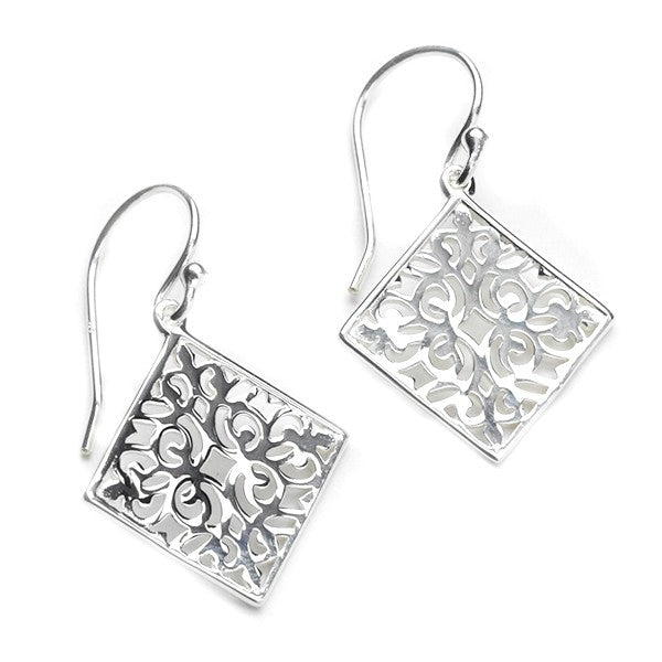 Southern Gates Small Diamond Scroll Earrings - Silverscape Designs
