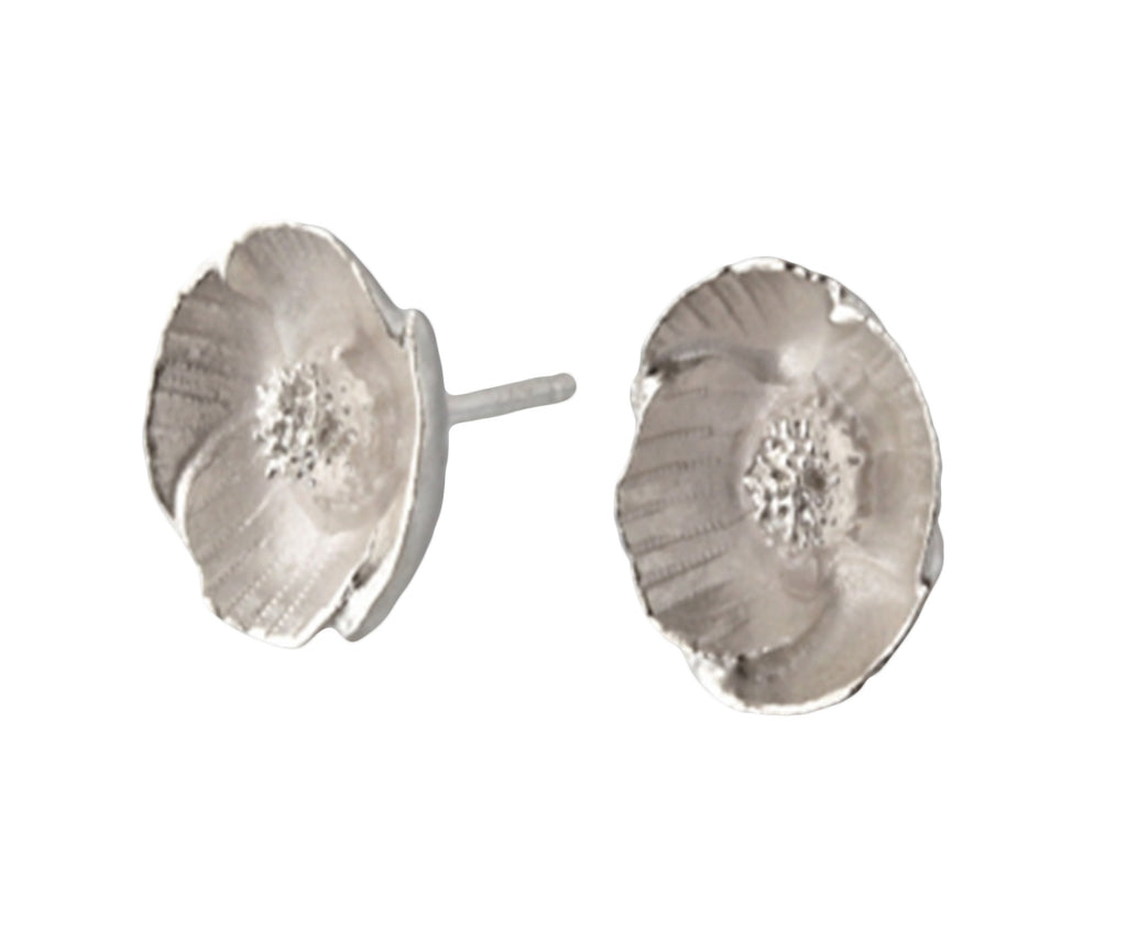 Sterling Silver Poppy Post Earrings - Silverscape Designs