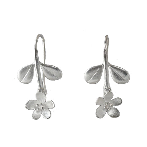 Mini Boxwood Apple Blossom Earrings (2 Stone Options) - Silverscape Designs