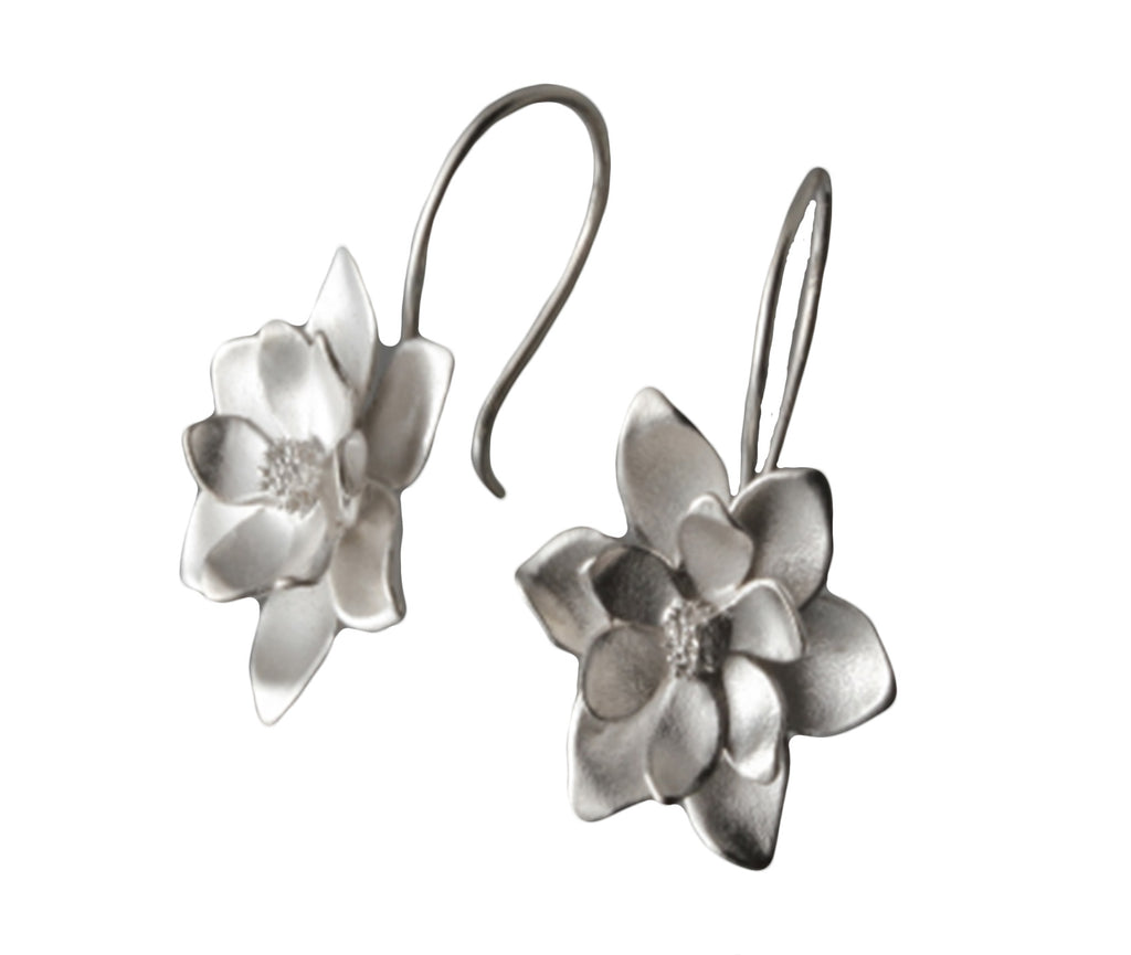 Sterling Silver Magnolia Loop Earrings