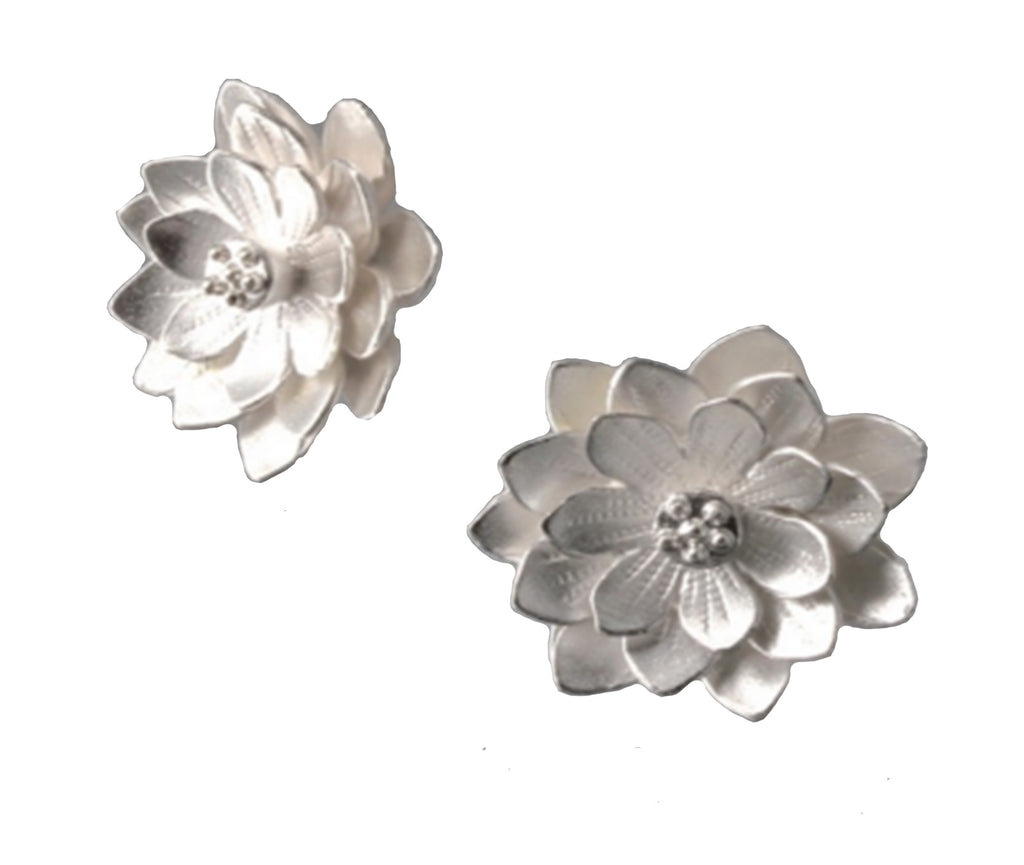 Sterling Silver Lotus Post Earrings
