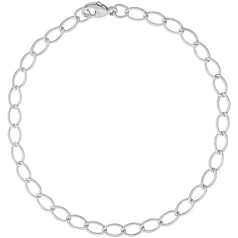 Elongated Oval Link Charm Bracelet in Sterling Silver - Silverscape Designs
