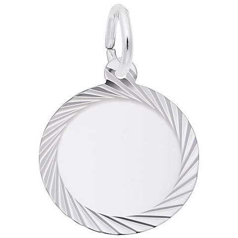 Diamond Faceted Disc Charm in Sterling Silver - Silverscape Designs