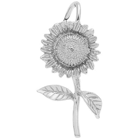 Sunflower Charm in Sterling Silver - Silverscape Designs