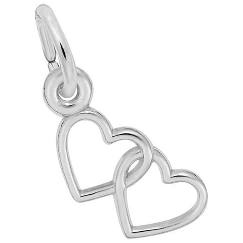 Two Open Hearts Accent Charm in Sterling Silver - Silverscape Designs