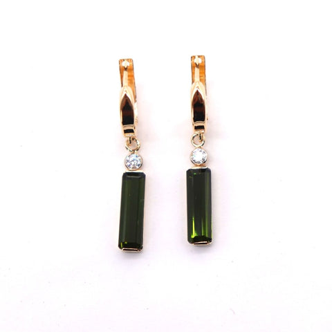 Rectangle Green Tourmaline Dangle Earrings in Yellow Gold - Silverscape Designs