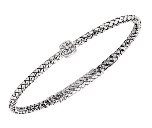Silver Basketweave Bracelet With Diamonds