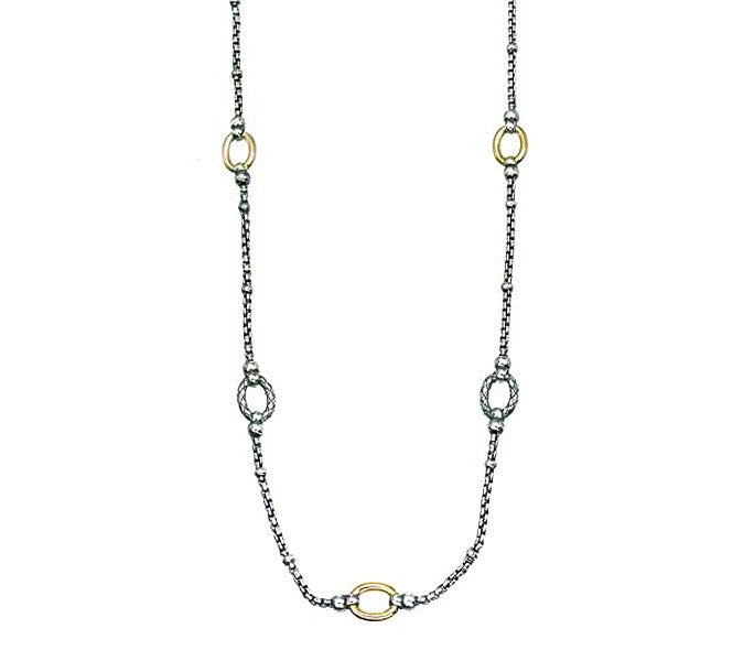 "Traversa 36"" Oval Link Necklace 18k S/S"