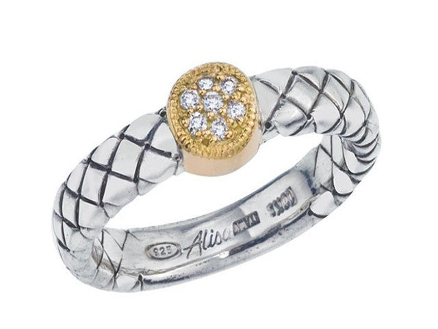 Basketweave Diamond Ring, Two Toned