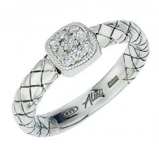Basketweave Diamond Ring, Sterling Silver - Silverscape Designs