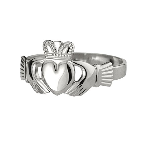 White Gold Irish Claddagh Ring - Silverscape Designs