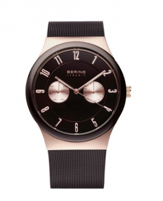 Unisex Rose Gold Brown Accent Watch