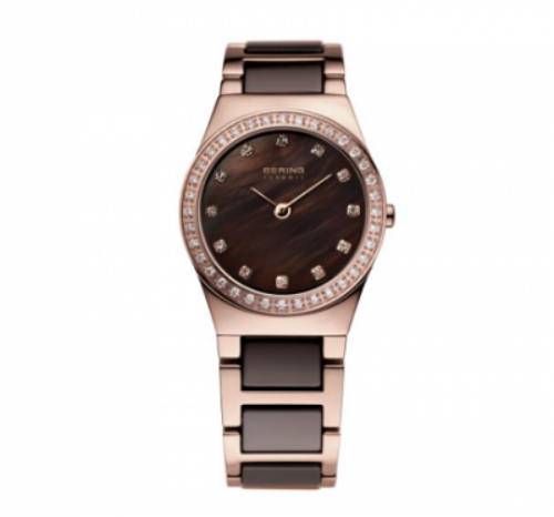 Women's Rose Gold Brown Accent Watch