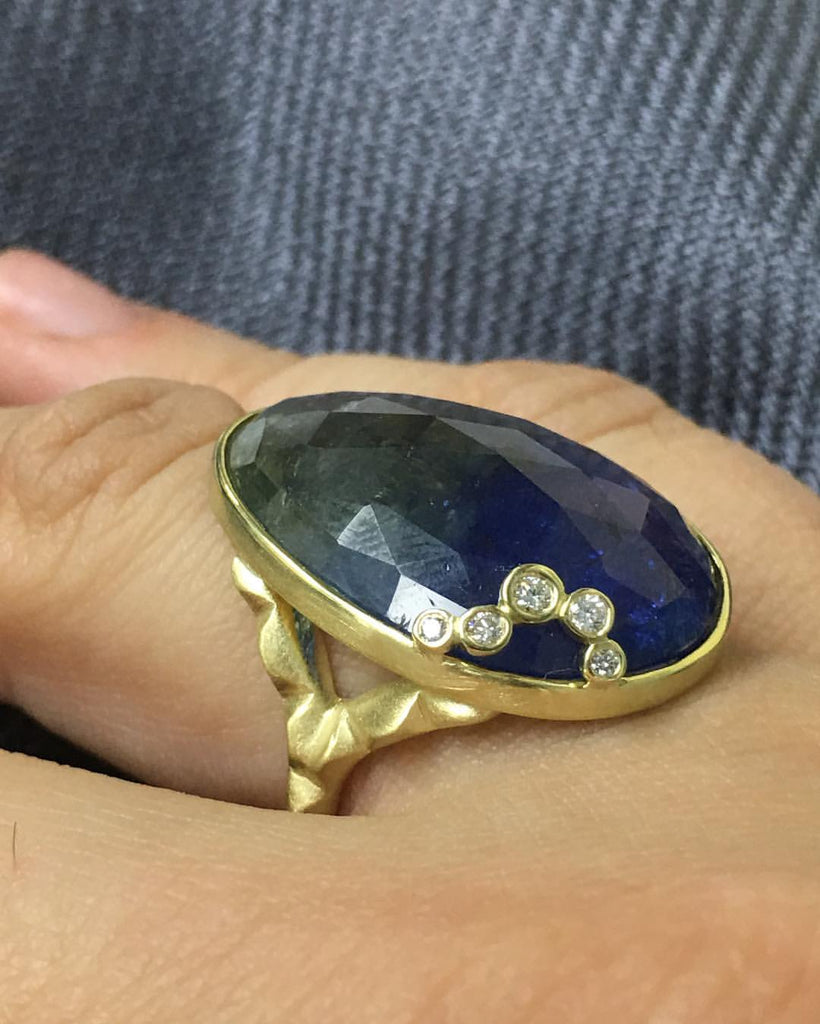 Tanzanite Ring with 5 Diamond Accents in Brush Finished Yellow Gold - Silverscape Designs