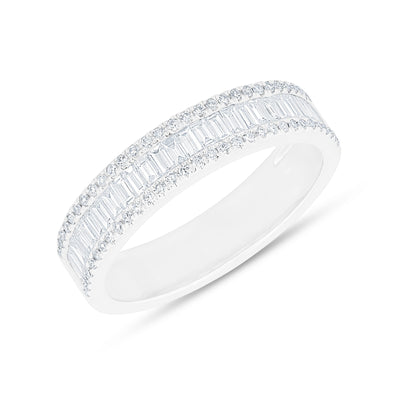 14KT White Gold Half Baguette Diamond Kate Band Ring