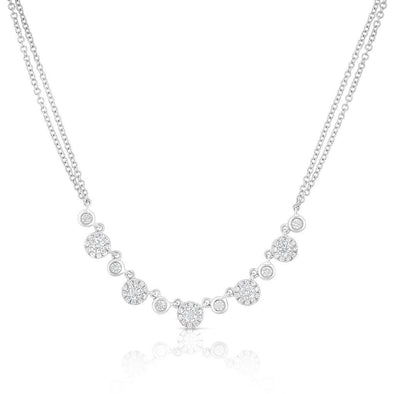 14KT White Gold Diamond Double Chain Danielle Necklace