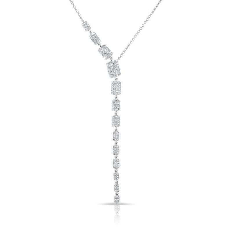 14KT White Gold Diamond Brick Drop Sienna Lariat Necklace
