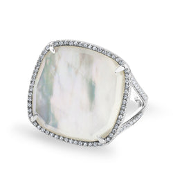 14KT White Gold Mother of Pearl Diamond Doublet Ring