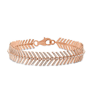 14KT Rose Gold Diamond Feather Bracelet