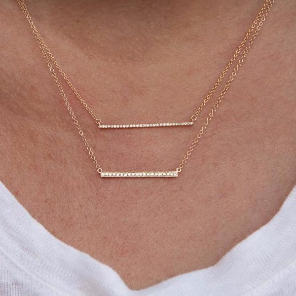 14KT Yellow Gold Diamond Thin Bar Necklace-Anne Sisteron