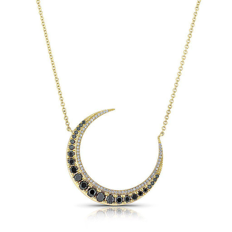 14KT Yellow Gold Black Diamond Lunar Necklace