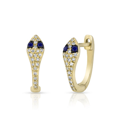 14KT Yellow Gold Diamond Blue Sapphire Snake Huggie Earrings