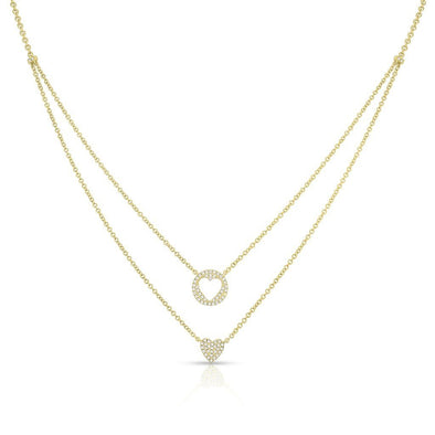 14KT Yellow Gold Diamond Heart to Heart Necklace