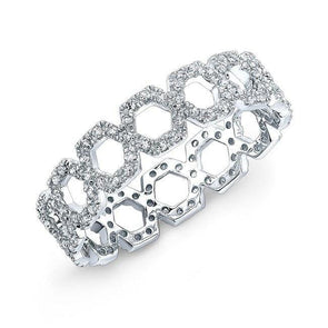 14KT White Gold Diamond Mini Lattice Ring