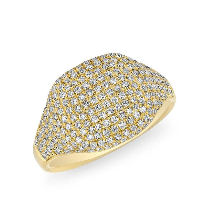 14KT Yellow Gold Diamond Cushion Pinkie Ring