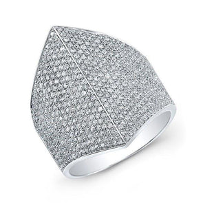 14KT White Gold Diamond Helmet Ring