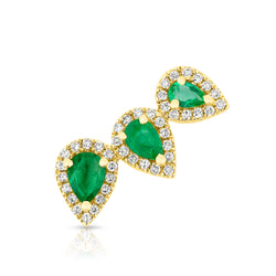 14KT Yellow Gold Diamond Emerald Valis Ear Climber